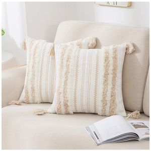 "Set 2 Boho Decorative Throw Pillow Covers 20x20"""